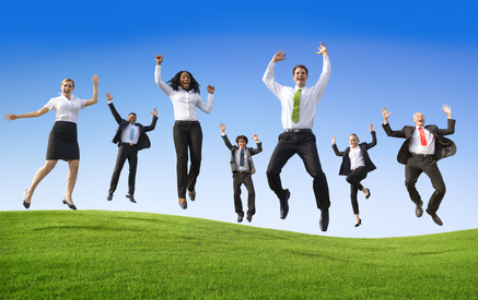 Group of Multiethnic Ecstatic Business People Outdoors